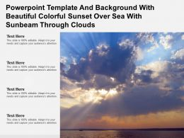 Powerpoint Template With Beautiful Colorful Sunset Over Sea With Sunbeam Through Clouds
