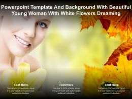 Powerpoint Template With Beautiful Young Woman With White Flowers Dreaming