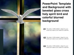 Powerpoint Template With Beveled Glass Cross Holy Spirit Bird And Colorful Blurred Background