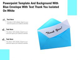 Powerpoint Template With Blue Envelope With Text Thank You Isolated On White
