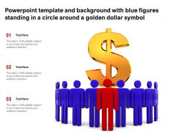 Powerpoint Template With Blue Figures Standing In A Circle Around A Golden Dollar Symbol