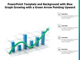 Powerpoint Template With Blue Graph Growing With A Green Arrow Pointing Upward
