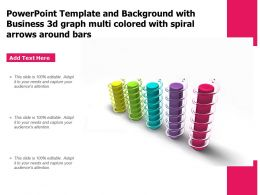 Powerpoint Template With Business 3d Graph Multi Colored With Spiral Arrows Around Bars