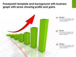 Powerpoint Template With Business Graph With Arrow Showing Profits And Gains