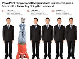 Powerpoint Template With Business People In A Series With A Casual Guy Doing The Headstand