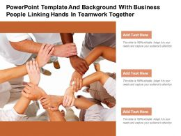Powerpoint Template With Business People Linking Hands In Teamwork Together
