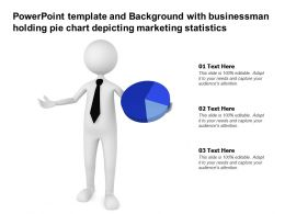 Powerpoint Template With Businessman Holding Pie Chart Depicting Marketing Statistics