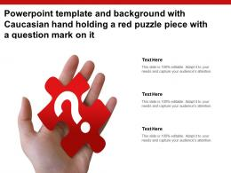 Powerpoint Template With Caucasian Hand Holding A Red Puzzle Piece With A Question Mark On It