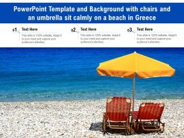 Powerpoint Template With Chairs And An Umbrella Sit Calmly On A Beach In Greece
