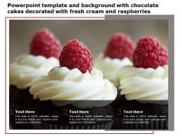 Powerpoint Template With Chocolate Cakes Decorated With Fresh Cream And Raspberries