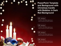 Powerpoint Template With Christmas Candle With Bubbles In Dark Red Background