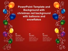 Powerpoint Template With Christmas Red Background With Balloons And Snowflakes
