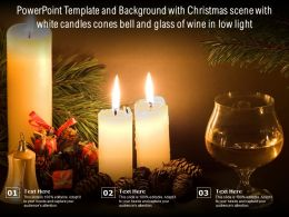 Powerpoint Template With Christmas Scene With White Candles Cones Bell And Glass Of Wine In Low Light