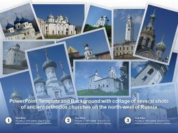 Powerpoint Template With Collage Of Several Shots Of Ancient Orthodox Churches On North West Of Russia