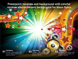 Powerpoint Template With Colorful Rainbow Abstract Music Background For Disco Flyers