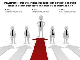 Powerpoint Template With Concept Depicting Leader In A Team Successful In Economy Or Business Area