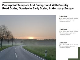 Powerpoint Template With Country Road During Sunrise In Early Spring In Germany Europe