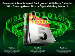 Powerpoint Template With Desk Calendar With Glowing Green Binary Digits Orbiting Around It