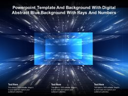 Powerpoint Template With Digital Abstract Blue Background With Rays And Numbers