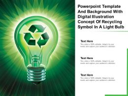 Powerpoint Template With Digital Illustration Concept Of Recycling Symbol In A Light Bulb