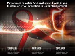 Powerpoint Template With Digital Illustration Of A HIV Ribbon In Colour Background