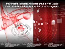 Powerpoint Template With Digital Illustration Of Clinical Symbol In Colour Background
