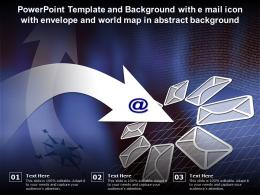 Powerpoint Template With E Mail Icon With Envelope And World Map In Abstract Background