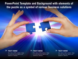 Powerpoint Template With Elements Of The Puzzle As A Symbol Of Various Business Solutions