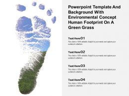 Powerpoint Template With Environmental Concept Human Footprint On A Green Grass
