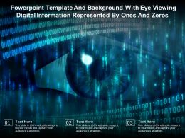 Powerpoint Template With Eye Viewing Digital Information Represented By Ones And Zeros