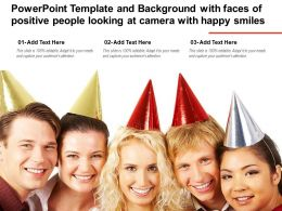 Powerpoint Template With Faces Of Positive People Looking At Camera With Happy Smiles