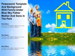 Powerpoint Template With Family Under Blue Sky Father Mother And Sons In The Park