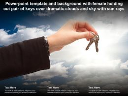 Powerpoint Template With Female Holding Out Pair Of Keys Over Dramatic Clouds And Sky With Sun Rays