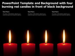 Powerpoint Template With Four Burning Red Candles In Front Of Black Background