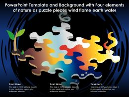 Powerpoint Template With Four Elements Of Nature As Puzzle Pieces Wind Flame Earth Water