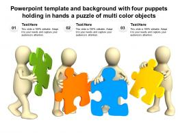 Powerpoint Template With Four Puppets Holding In Hands A Puzzle Of Multi Color Objects