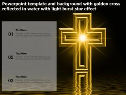 Powerpoint Template With Golden Cross Reflected In Water With Light Burst Star Effect