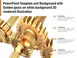Powerpoint Template With Golden Gears On White Background 3d Rendered Illustration