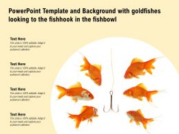 Powerpoint Template With Goldfishes Looking To The Fishhook In The Fishbowl