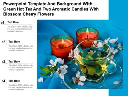 Powerpoint Template With Green Hot Tea And Two Aromatic Candles With Blossom Cherry Flowers