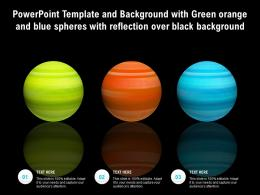 Powerpoint Template With Green Orange And Blue Spheres With Reflection Over Black Background