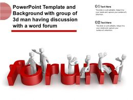 Powerpoint Template With Group Of 3d Man Having Discussion With A Word Forum