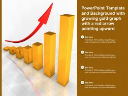 Powerpoint Template With Growing Gold Graph With A Red Arrow Pointing Upward