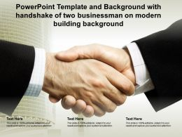 Powerpoint Template With Handshake Of Two Businessman On Modern Building Background