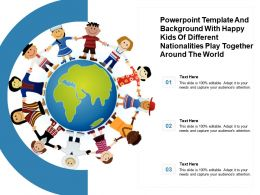 Powerpoint Template With Happy Kids Of Different Nationalities Play Together Around The World