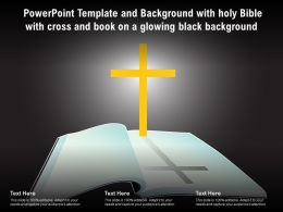 Powerpoint Template With Holy Bible With Cross And Book On A Glowing Black Background