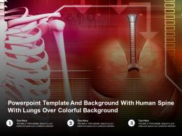 Powerpoint Template With Human Spine With Lungs Over Colorful Background