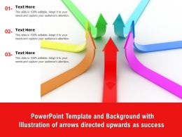 Powerpoint Template With Illustration Of Arrows Directed Upwards As Success