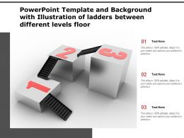 Powerpoint Template With Illustration Of Ladders Between Different Levels Floor