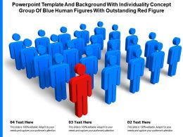Powerpoint Template With Individuality Concept Group Of Blue Human Figures With Outstanding Red Figure